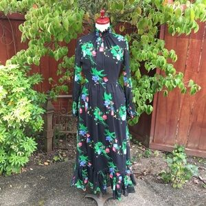 Dresses & Skirts - Vintage 70s Sheer Floral Chiffon Maxi Dress